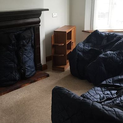 living room items protected and ready to remove